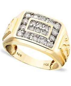 Men's 14k Gold Ring, Diamond (1 ct. t.w.) - Men's Jewelry & Accessories - Jewelry & Watches - Macy's
