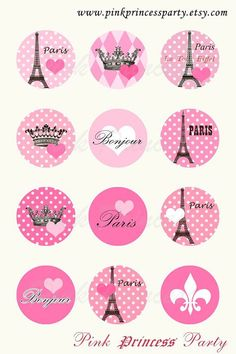 Pink Paris Eiffel tower image 1 inch Circle by KatarinArt on Etsy