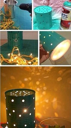 Homemade outside lights. So easy and put a leftover  coffee can to use.