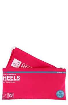 Preventing the stilettos from snagging sweaters or dirtying up clothes with these smart and stylish pink travel bags.