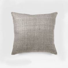 Solid Silk Hand Loomed Pillow Cover– Platinum | west elm