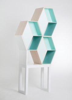 Hexagon shaped shelves, teal/turquoise colored back // Cubious by Kristina Lindqvist Design Furniture, Wood Furniture, Modern Furniture, Simple Furniture, Decoration Inspiration, Furniture Inspiration, Architecture Design, Regal Design, Interior Decorating