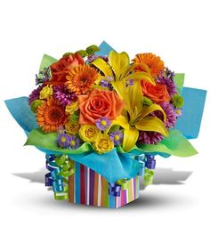 Rainbow Present Happy Birthday Flower Bouquet Gifts