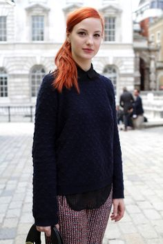 Paris street style — the hair!! love the jumper too