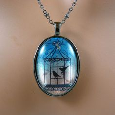 Blue Birdcage Necklace  Birdcage Jewelry  by Fineartreflections
