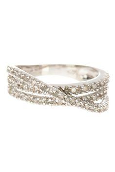 Sterling Silver Multi Twist Pave Diamond Ring - 0.25 ctw