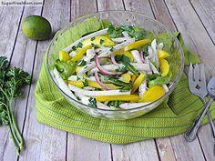 Jicama Arugula Herb salad with Lime Vinaigrette | sugarfreemom.com