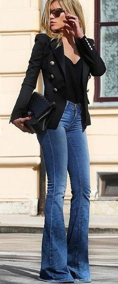 Street style   Flared jeans with button up blazer