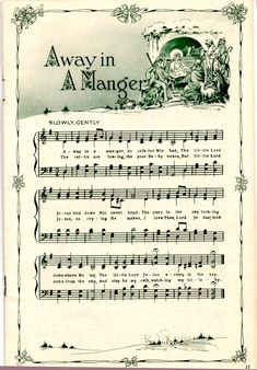 Away in a Manger vintage Christmas sheet music printable for clip art, decoupage. Christmas Sheet Music, Noel Christmas, Winter Christmas, Xmas Music, Christmas Sheets, Xmas Songs, Christmas Lyrics, Christmas Cookies, Christmas Ideas