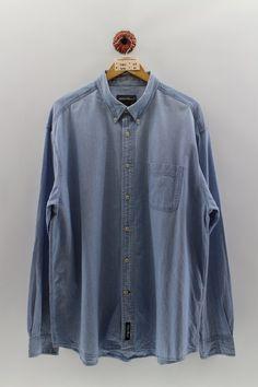 Eddie Bauer, Denim Button Up, Button Up Shirts, Oxford, Vintage Jerseys, Union Made, Used Clothing, Denim Shirt, Flannel