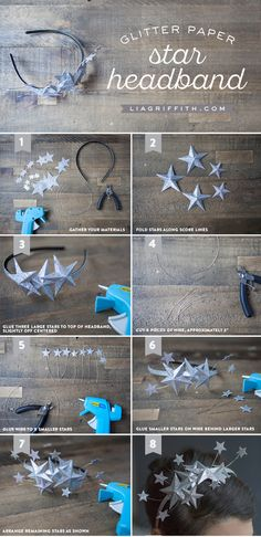 Paper Star Headband Tutorial New Year's Eve Idea from MichaelsMakers Lia Griffith