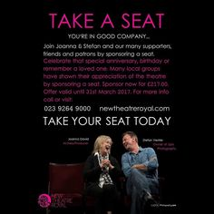 """Very proud to be involved and associated to @newtheatreroyal #portsmouth """"Take a seat"""" campaign. #theatre #culture #lovefortheatre #lovemycity #loveportsmouth #celebrity #campaign #photography #photographer #laughter #live #love #tourism #nightlife #stage #performance"""