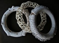 Radiolarian super-hollow bracelets 1 in Kato Polyclay by Daniel Imposible, via Flickr
