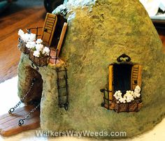 Fairy Castle Cottage: painted and embellished papercrete and miscellaneous found objects