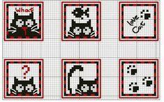 Ricami, lavori e centinaia di schemi a punto croce di tutti i tipi, gratis: Schemi a punto croce a tema Gatti di ogni tipo e genere