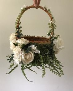 Most Adorable Flower Girl Baskets Ideas rustic floral flower girl wedding basket - plus a collection of too cute to pass up flower girl wedding baskets from Etsy, curated by The Garter Girl Church Wedding Flowers, Bridal Flowers, Floral Flowers, Wedding Flower Girls, Rustic Flower Girls, Rustic Flowers, Brides Basket, Basket Decoration, Flower Decoration
