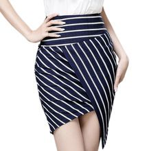 2016 ранней весной Swmmer женщины асимметричный подол юбка карандаш ретро пр стиль полосатый принт длиной до колен сексуальная офис юбки WQB679(China (Mainland))