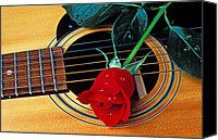 Guitar With Single Red Rose Photograph by Garry Gay - Guitar With Single Red Rose Fine Art Prints and Posters for Sale