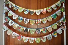 storybook bunting When I saw this banner from old Golden Books, I was thrilled. I knew that I had to Paper Bunting, Bunting Garland, Garlands, Bunting Ideas, Garland Ideas, Felt Bunting, Fabric Bunting, Book Crafts, Paper Crafts