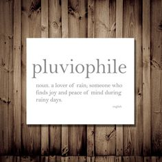 Pluviophile - Lover of Rain - Dictionary Definition Typography Print, Cozy Home Decor, Literature Lover, Unique Gift, Quote Art