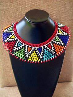 Rainbow Zulu beaded web necklace