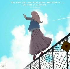 Reposted from ( - When we are worried, we sometimes believe in our problems rather th Islamic Cartoon, Islamic Posters, Hijab Cartoon, Islamic Girl, People Illustration, Muslim Girls, Cute Cartoon Wallpapers, Manga Drawing, Girl Cartoon
