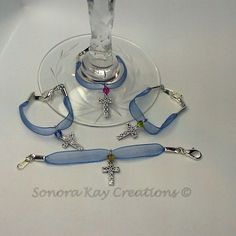 Blue Organza Ribbon Wine Charms by Sonora Kay Creations