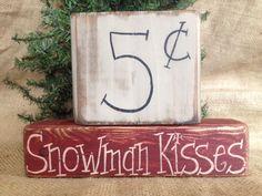 Primitive Country Snowman Kisses Christmas Holiday Shelf Sitter Wood Block Set in Art, Direct from the Artist, Folk Art & Primitives | eBay