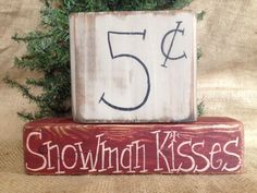 Primitive Country Snowman Kisses Christmas Holiday Shelf Sitter Wood Block Set in Art, Direct from the Artist, Folk Art & Primitives   eBay