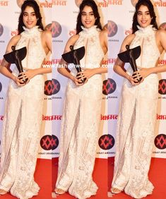 Janhvi kapoor attended the Lokmat Most Stylish awards and she was seen in ivory embellished outfit by Faraz MananGold makeup and a pinned back wavy hair-do rounded out her look!