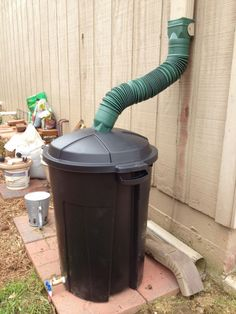 Transform an old garbage can into a vessel for collecting rainwater.  Get the tutorial at Crafty Lane.