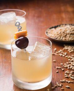 old tom cocktail: 2 oz. Old Tom gin ¼ oz. maraschino liqueur ¼ oz. fresh lemon juice 2 dashes Regan's orange bitters Tools: barspoon Glass: rocks Garnish: brandied cherry and an orange twist