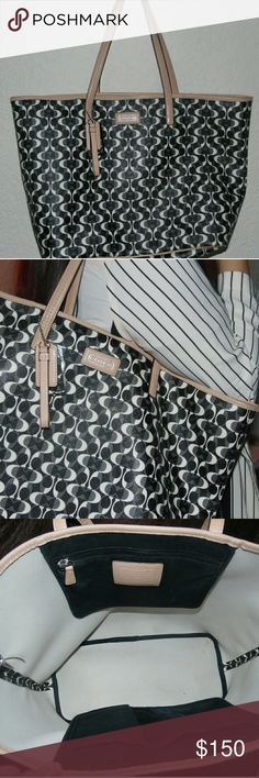 Coach Tote Bag Black & white pattern with tan lining. Shoulder straps are fraying and interior has a few small stains that could be washed out. There's also an outer stain on the bag. Offers are welcome! Coach Bags Shoulder Bags