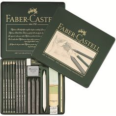 Faber Castell : Pitt Graphite Set : Metal Tin Set of 18 Colores Faber Castell, Faber Castell Pitt, Love Gifts For Her, Best Pencil, Art Studio Organization, Cute School Supplies, Art Graphique, Drawing Tools, Pencil Art