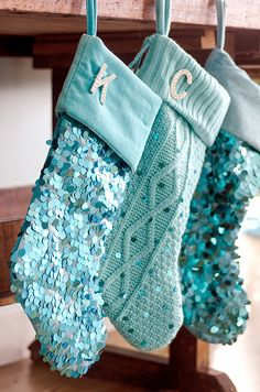 Turquoise Christmas Stockings. Mantel with Turquoise Christmas Stockings…