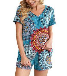 POKWAI Women's Pajamas Sets Summer Short Sleeve Sleepwear Nightwear POKWAI Dressy Tops, Pajama Shorts, Pj Sets, Summer Shorts, Nightwear, Pajama Set, Lounge Wear, Perfect Fit, Tie Dye