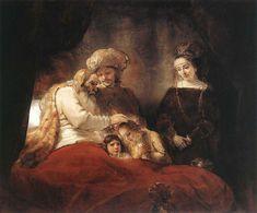 Rembrandt Harmensz. van Rijn: Jacob Blessing the Children of Joseph. Tras reconciliarse José con sus hermanos, volvera a ver a su padre Jacob y antes de la muerte de este le llevara a sus hijos para que bendiga al primogenito, este hace igual que su padre Isaac, bendice al pequeño.