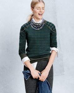 J.Crew Merino Tippi sweater in houndstooth. I have this...I call it my Finnegan jumper, after my beloved cat (son & hero) Finnegan.
