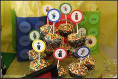 multi colored sprinkles on cupcakes