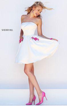 2016 Ivory/Pink Strapless Floral Embellished Short Bodice Cocktail Dresses