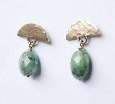 Gold drop earrings hammered gold earrings emerald earrings
