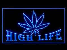 220001B Marijuana Hemp Leaf High Life Virtual Weed Smoking Peace LED Light Sign