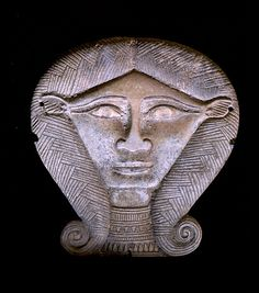 Head from a statue of the cowheaded goddess Hathor Egypt Late Period