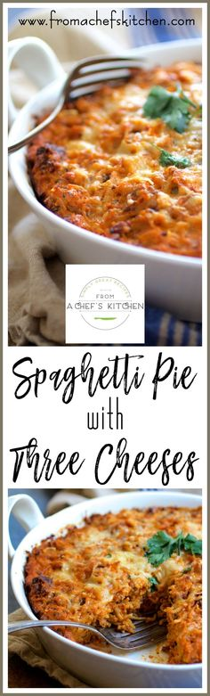 Spaghetti Pie with Three Cheeses--smoked mozzarella, ricotta and Parmesan--is how to turn leftover spaghetti into something amazing! via /chefcarolb/ Best Pasta Recipes, Pasta Sauce Recipes, Chicken Pasta Recipes, Dinner Recipes, Cooking Recipes, Pasta Recipies, Kitchen Recipes, Beef Recipes, Easy Recipes