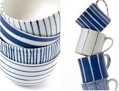 blue and white hand painted pottery