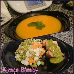 Bimby Truques & Dicas: Creme de legumes com Lombinhos de porco e molho verde, acompanhado com legumes - Cozinhar em pirâmide. 3 em 1