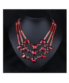 33bd9009b54 Women s Multi-color Crystal Luxury Statement Chokers Necklace Pendant  Jewelry for Girls Red CR12FY2TKSX
