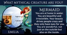 What mythical creature are you?  You are magical in a unique way. You are full of energy and talents that you are probably not even aware of. You can do a lot more than you give yourself credit for. There is more than just one talent in every skin-walker. Each person is something special and has an extraordinary side. Yours happens to be truly magical.