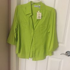New Orchid Green button up Shirt Orchid Green, button up. Sleeve can be worn cuffed or 3/4 length, size Large Apparenza Tops Button Down Shirts