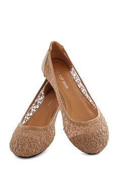 A Step of Fresh Air Flat - Flat, Tan, Lace, Fairytale, Solid, Work, Daytime Party, Spring, Summer, Sheer
